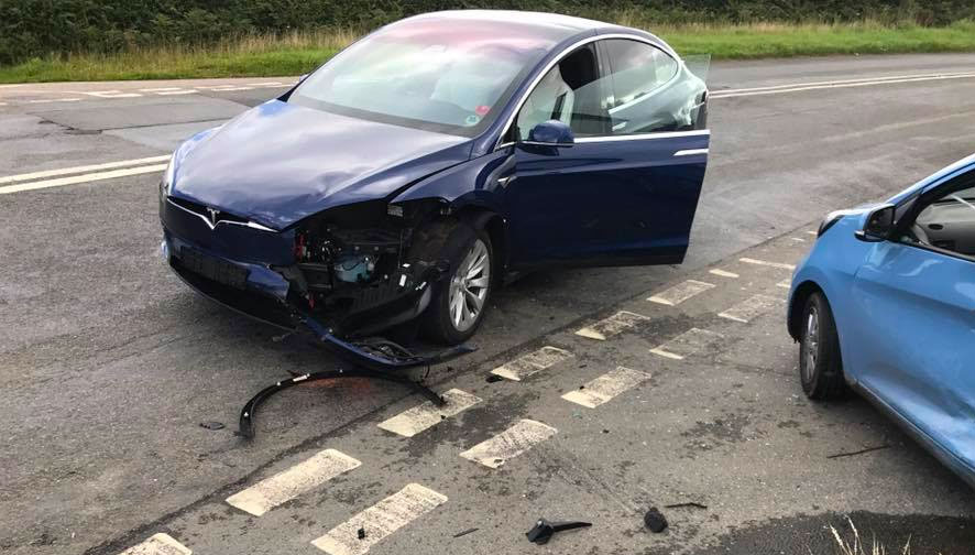 I've just been in an accident in my Tesla, what should I do